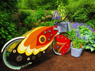 This bike was designed by local artist Charlotte Lees and is placed at the Cleveland Botanical Garden. It is part of Bikes, Bees and Butterflies, a public art and urban sustainability project.