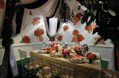 """""""Entertaining is Fun!"""" by Marissa Matiyasic, Angela Potts and Katie Tumino at Entertaining by Design, a collection of whimsical and elegant tablescapes on view at the Ohio Design Centre."""