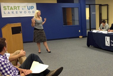Megan Manning makes her winning pitch for the Little Lakewood Pasta Company.