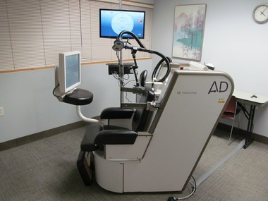 The NeuroAD chair, manufactured by Neuronix Ltd., is part of a trial at Lakewood Hospital to determine its effectiveness at treating Alzheimer's disease.