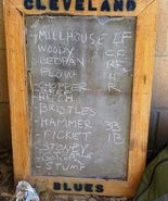 This chalkboard belonging to the Cleveland Blues lists the nicknames of team members playing in the match on June 25.