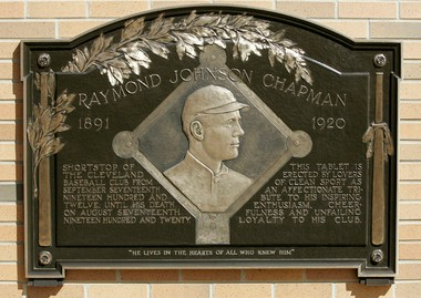 This long-lost plaque honoring Ray Chapman was discovered by the Indians and now hangs at Heritage Park at Progressive Field.