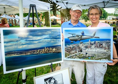 Pilot Mark Sanderson and wife, Yvonne, offered their specialty at the Art on the Circle event â aerial shots the couple takes as part of their business, Focal Plane Photography. The Sandersons reside in South Euclid.