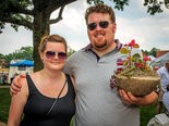 Kari Evans and Dan Ives purchased a hypertufa planter from the Eskie Gardens booth at the Notre Dame Art on the Circle festival June 22. Evans was also on the lookout for unique jewelry.