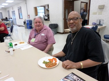Two men who regularly eat lunch through Community Partnership on Aging programs are Earl Graham, left, of Lyndhurst, and Allan Hayes, of South Euclid. They are shown here eating at the South Euclid Community Center.