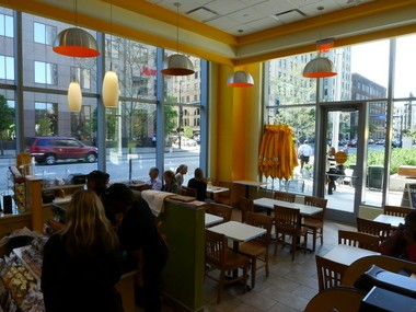 An Au Bon Pain cafe is tucked into the southwest corner of the Global Center for Health Innovation at the corner of St. Clair Avenue and Huron Road.