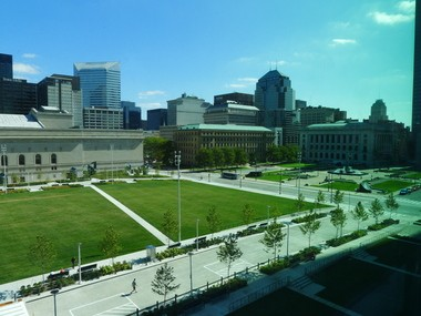 Views from the upper floors of the atrium in the Global Center for Health Innovation frame a sizable chunk of Cleveland's architectural history.