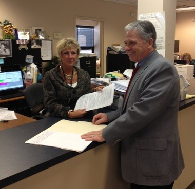 Medina County Commissioner Stephen Hambley files in February at the Medina County Board of Elections to run for the 69th Ohio House district seat.