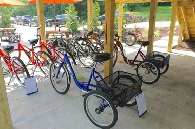 The bikes for rent at Spokes of Medina were donated by Edge Outdoors and the Medina County Bike Club. Two of the bikes are three-wheeled adaptive bikes that can be used by riders with disabilities.