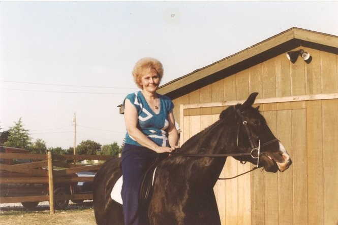 Jean Tait is shown here with one of the 41 horses she and her husband, Joe, raised on their Double D Farm over the years. (Photo Courtesy of the Tait family)
