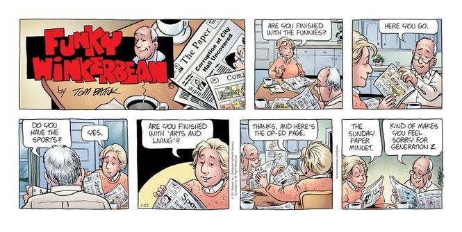 """Characters in this """"Funky Winkerbean"""" comic strip still understand the simple joy of sharing the Sunday newspaper. (Photo Courtesy of Tom Batiuk)"""