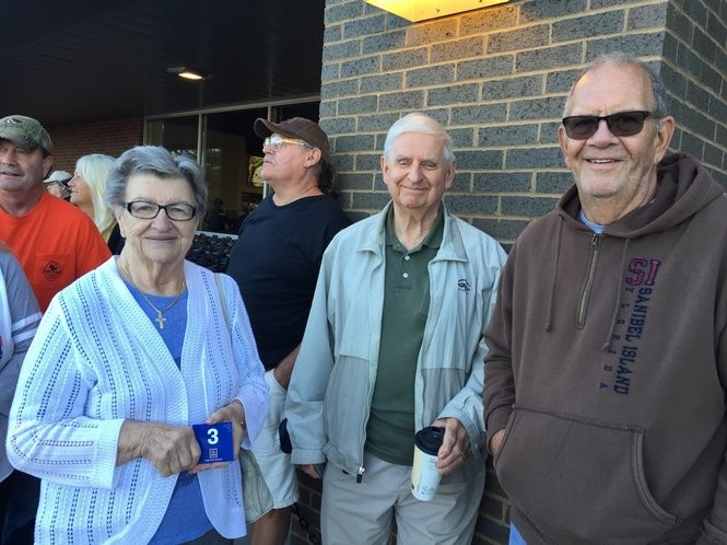 The first three people in line for the new Medina ALDI's grand opening were, from left, Anna Gottl, Joe Mazak and Gary Kalister. (Mary Jane Brewer, special to cleveland.com)