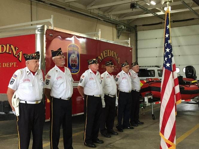 Members of American Legion Post 202 served as the color guard at today's ceremony honoring the 17th anniversary of 9/11. Medina hosted the remembrance at Fire Station No. 1. (Mary Jane Brewer, special to cleveland.com)