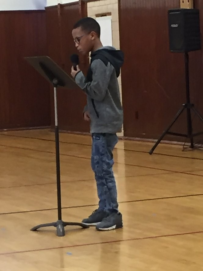 "Davi'on Jones, a fifth-grader at Medina's Garfield Elementary School, performs his original song, ""Soar,"" during a concert Feb. 8 at the school. He incorporated the musical skill of beat-boxing into his song. (Mary Jane Brewer, special to cleveland.com)"