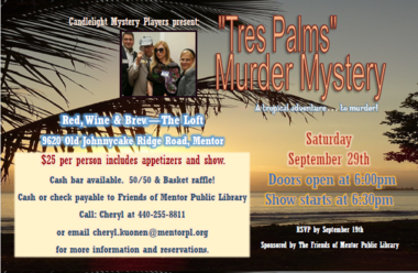 Friends of Mentor Library hosting a Murder Mystery