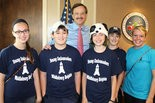 Young Ambassadors of Middleburg Heights at Middleburg Heights City Hall are, from left, Abbey Schad, Alec Cario, Middleburg Heights Mayor Gary W. Starr, Olivia Farris, Sebastian Cario and Cassie Cagle. Photo courtesy of Charles Bichara.