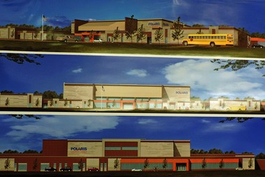 These renderings show the future look of the Polaris Career Center after renovations and upgrades are completed.