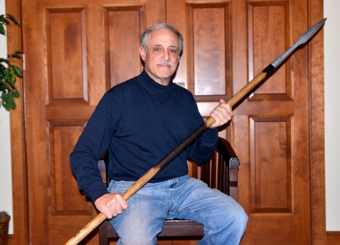 This lance is a reproduction of the spear that pierced the side of Christ while on the cross. David Onysko had it manufactured in Greater Cleveland.