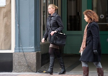 """Katherine Heigl, as the title character in """"Jenny's Wedding,"""" steps out of the 5th Street Arcades in Cleveland."""