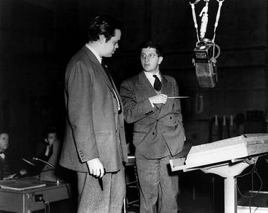 """Orson Welles and Bernard Herrmann work on """"Citizen Kane."""" The two first collaborated on radio productions in New York."""