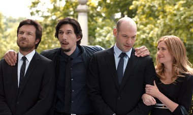 """Kathryn Hahn co-stars in """"This is Where I Leave You"""" with, from left, Jason Bateman, Adam Driver and Corey Stall."""