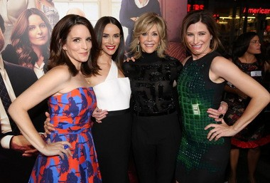 """Kathryn Hahn at the L.A. premiere of """"This is Where I Leave You"""" earlier this week with, from left, Tina Fey, Abigail Spencer and Jane Fonda."""
