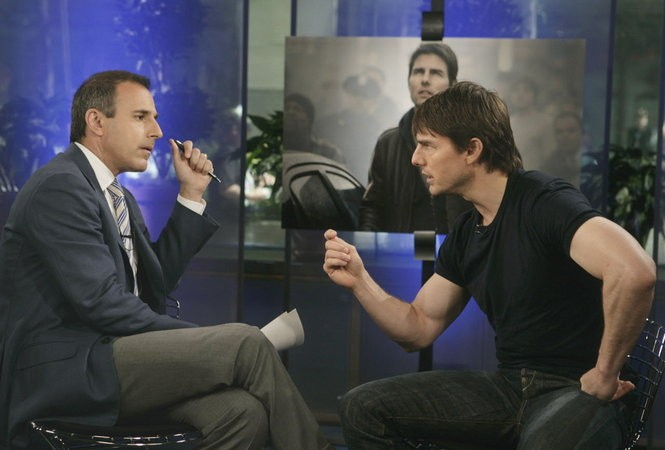 """Tom Cruise during his famous """"Today"""" show meltdown with Matt Lauer in 2005. On the phone, Cruise was a good interview and very nice."""