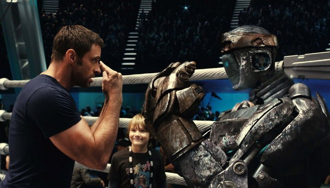 """Hugh Jackman in """"Real Steel."""" For the record, the Aussie is about 6' 2""""."""