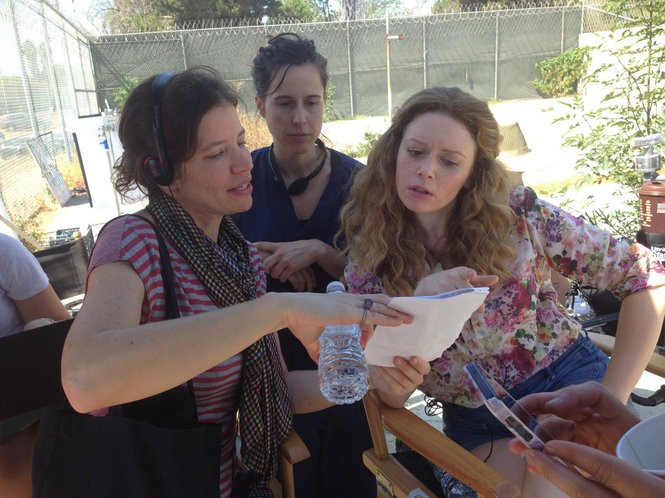 """Director Jamie Babbit, left, on the """"Addicted to Fresno"""" set last year with screenwriter Karey Dornetto and star Natasha Lyonne. Babbit will discuss the film Friday at the Cedar Lee."""
