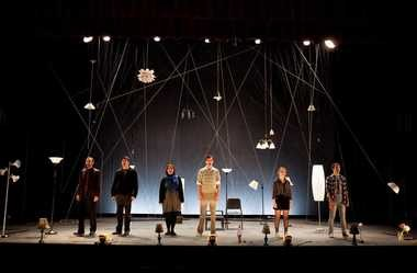 """The cast of the Lakeland Civic Theatre production of """"Next to Normal,: from left: Timothy Allen as Dr. Madden, Rick McGuigan as Dan, Amiee Collier as Diana, Ben Donahoo as Gabe, Emma Wahl as Natalie and Pat Miller as Henry."""