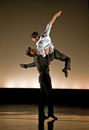 """Or Sagi is the groom, top, and Ryan De Alexandro the gay priest who lusts after him in Richard Dickinson's """"The Rite of Spring: The Bride Unseen,"""" which Verb Ballets is performing this weekend at Cleveland Public Theatre."""