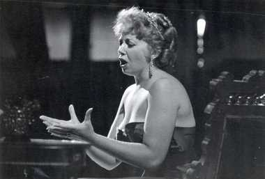 """Beverly Sills is shown singing the English equivalent of the aria """"Vissi d'arte"""" in Puccini's """"Tosca"""" at Musicarnival in Warrensville Heights in June 1957."""