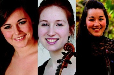"""From left, Young Artist Apprentices Madeline Apple Healey (soprano), Augusta McKay-Lodge (violin), and Cynthia Black (violin and viola) all play significant roles in Apollo's Fire's current program, """"Family Frolic."""""""
