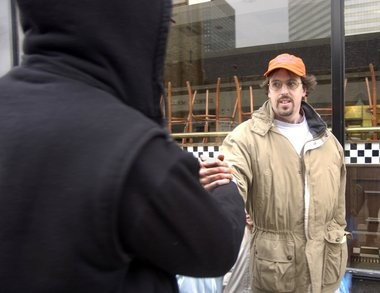 Brian Davis, pictured in 2002, has been helping homeless people in Cleveland publish a newspaper for 20 years.