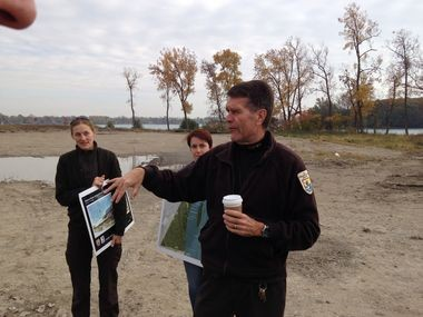 John Hartig was our host at a tour of the future sites of the Refuge Gateway and Humbug Marsh wildlife refuges along the Detroit River.