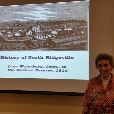 Librarian Karen Sigsworth presented the history of North Ridgeville.