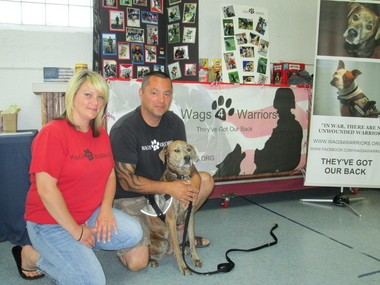 Jen and Frank DeLorenzo, pictured with Frank's service dog, Sophie, are co-founders of Wags 4 Warriors, an organization that trains service dogs for veterans.