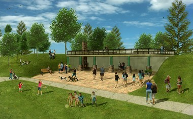 The design firm Brandstetter Carroll Inc. prepared this rendering of the proposed North Royalton pavilion.