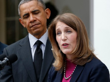 President Barack Obama with his nominee for secretary of Health and Human Services, Sylvia Burwell.