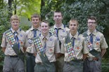 This new group of Troop 201 Eagle Scouts includes, from left, front row, Ryan Walston, Eric Sobera; back row, Andrew Tomasch, Kevin Walsh, Connor Hughes, Andrew Lane.