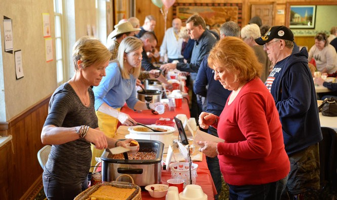 Sweet and spicy scents permeate the Olmsted Community Church's Fellowship Hall during its annual Chili Cook-Off.