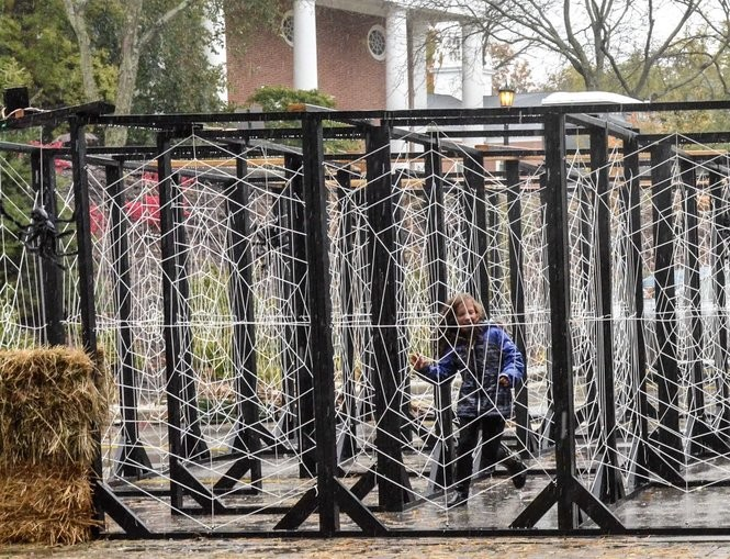 The intricate spiderweb maze beckons a child to find her way out.