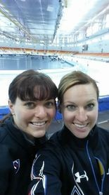 U.S. Olympic speedskaters Heather Richardson (left) and Kelly Gunther are all smiles at the Adler Arena longtrack speedskating venue in Sochi, Russia.