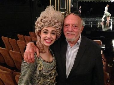 """The ingenue and the legend: Kaley Ann Voorhees and Hal Prince at the Majestic Theatre. Voorhees will play Christine in """"The Phantom of the Opera,"""" the musical, now it its record-shattering 26th year, that won Prince a Tony Award for direction."""