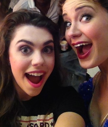 """Two Christines, cutting up: (L to R) Kaley Ann Voorhees (Christine Alternate) and Sierra Boggess (Principal Christine) behind the scenes of """"The Phantom of the Opera"""" at the Majestic Theatre."""