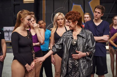 """From left: Julia Hines, one of the students playing the role of Cassie in the Baldwin Wallace University production of """"A Chorus Line"""" listens to pointers from Donna McKechnie, who won a Tony Award for her turn as Cassie in the 1975 Broadway show."""