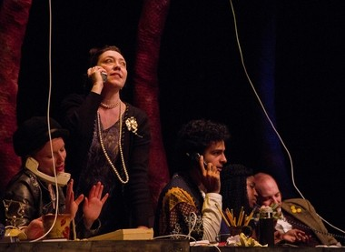 """The Fathom Town Enforcers in the boiler room under the sea, from left to right: Memory Lass (Cathleen O'Malley), Prospero (Holly Holsinger), Ariel (Arif Silverman), The Ocean (Abigail Anika Svigelj) and The Untangler (Brian Pedaci) in """"Spirits To Enforce"""" at Cleveland Public Theatre."""