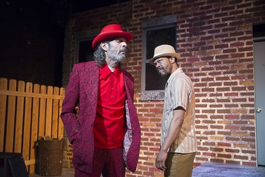 """Smooth operators, from left: Johnny Dollar (Rodney Freeman) and June Bailey (Prophet Seay) size each other up in """"The Mighty Scarabs!"""" now at Karamu's Arena Theatre through Sunday, March 29."""