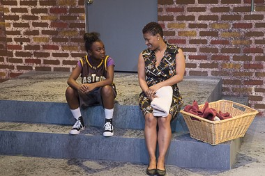 """From left: Gabby Chatman (Caris Collins) and Girlena Chatman (Katrice Monee Headd) are mother and daughter in the Karamu Theatre production of """"The Mighty Scarabs!"""""""
