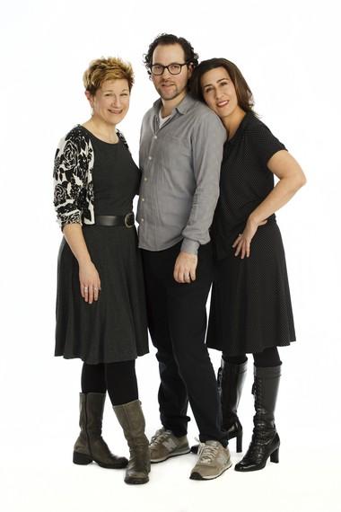 "From left, 'Fun Home"" creators Lisa Kron (book and lyrics), Sam Gold (director) and Jeanine Tesori (music)."